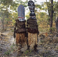 kambulo and kapada (they start the dance), makishi masquerade, kaoma, zambia by phyllis galembo