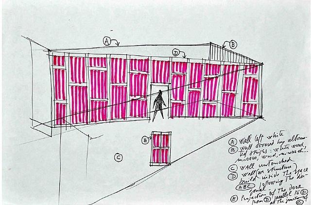 diagonale pour tissus, bois & miroirs by daniel buren