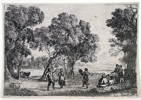 the country dance, small plate by claude lorrain