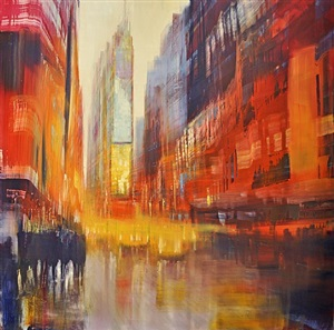 new york city times square, cab fair by david allen dunlop