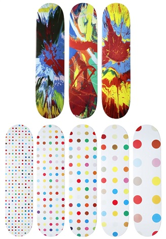 spin series and spot series of skateboards 8 works by damien hirst