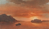men fishing in a cove, labrador by william bradford