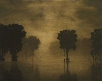 flooded river, evening rain by stephen hannock