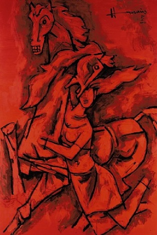woman & horses by maqbool fida husain