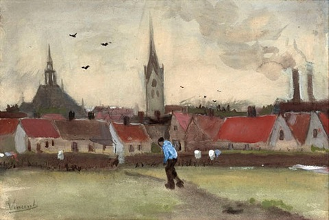 town view of the hague with the nieuwe kerk by vincent van gogh