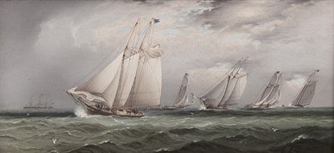 yachts rounding south west spit buoy by james edward buttersworth