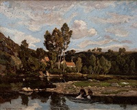washing the laundry by henri joseph harpignies