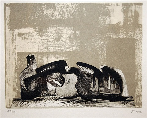 reclining figure interior setting by henry moore