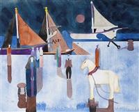 the horse in the port (das pferd am hafen) by heinrich campendonk