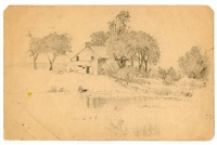 farm house on lake by henry farrer