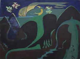 nächtliche phantasielandschaft in grün und schwarz by ernst ludwig kirchner