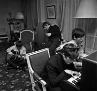 beatles composing, george v hotel, paris by harry benson