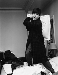 paul hits john, pillow fight, george v hotel, paris by harry benson