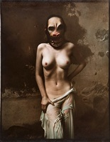 nude with gorilla mask by jan saudek