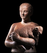 woman with sheep by hermann albert