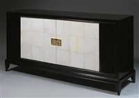 very beautiful african mahogany commode with black, stamped veneer by jean pascaud