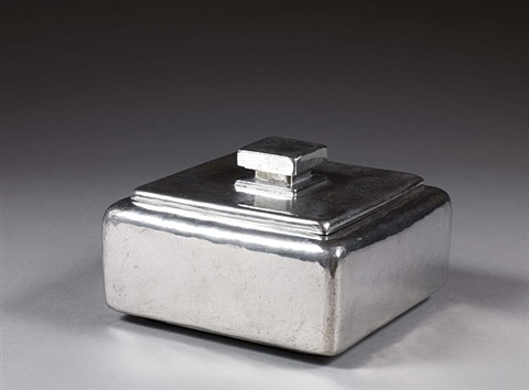 beautiful hammered pewter, quadrangular jewelry box, dice handle lid by maurice pierre andre daurat