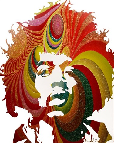 jimi hendrix (red) by richard zarzi