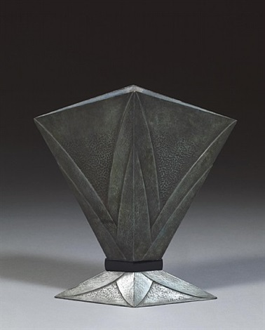 very beautiful bronze vase, formed like an open lotus with an antic green patina. by albert cheuret