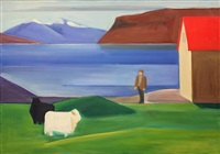icelandic landscape with sheep, man and red roof by louisa matthiasdottir