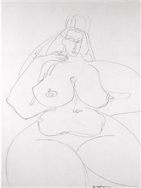 seated nude with headdress by gaston lachaise