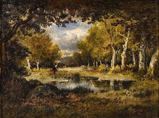 ramasseuse de bois en jupe rouge, forêt de fontainebleau (sold) by narcisse virgile diaz de la peña