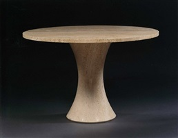 a travertine circular dining table designed by henry moore and made under his direction at the henraux marble works, querceta by henry moore
