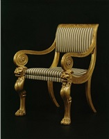 an imposing set of four giltwood and gilt-brass mounted armchairs signed <i>h. jacob</i> in the english taste by henri jacob