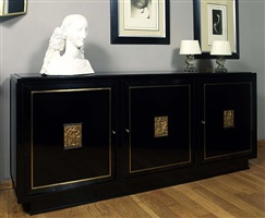 rare and beautiful black lacquered, oak commode by jacques adnet and paul belmondo