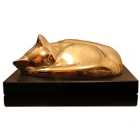 rare cat in bronze by william zorach
