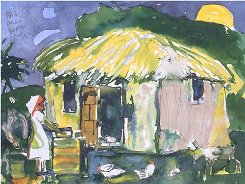 the thatched cabin by romare bearden