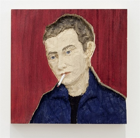 man with cigarette, (small relief) by stephan balkenhol