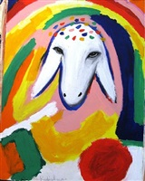 sheep portrait with rainbow by menashe kadishman