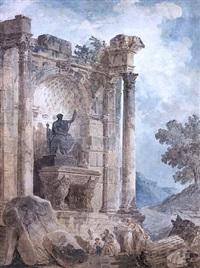 figures in a ruins landscape by hubert robert