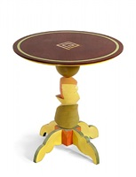 small table with wood spiral inlay by garry knox bennett