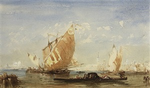 venice: sailing boats and gondolas in the basin of san marco by félix ziem
