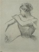 danseuse ajustant son épaulette by edgar degas