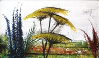 paysage aux ombelles by bernard buffet