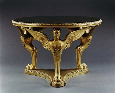the buckingham palace garden pavilion center table: an imposing giltwood monopodiae center table attributed to george morant and sons