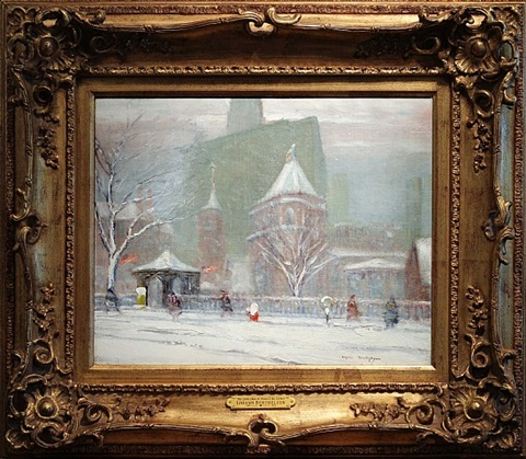 the little church around the corner, new york in winter by johann berthelsen