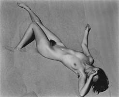 nude (charis) on dune, oceano, california (232n) by edward weston
