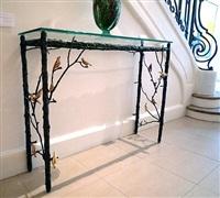 console aux oiseaux dorés / golden birds console by joy de rohan chabot