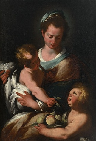 virgin and child with st john by bernardo strozzi