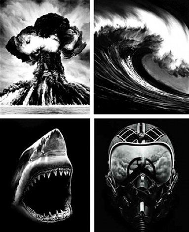 russian bomb, spanish blood, shark 5, ulysses (suite of 4) by robert longo