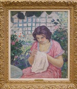 femme en rose cousant dans le jardin by albert andré
