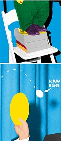 hand and/or feet: chair and books/plate and egg by john baldessari