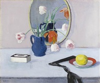 still life of pink tulips in a blue jar by francis campbell boileau cadell