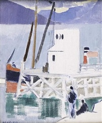 the pier at cove – loch long by francis campbell boileau cadell
