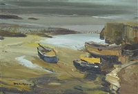 boats at low tide by donald mcintyre