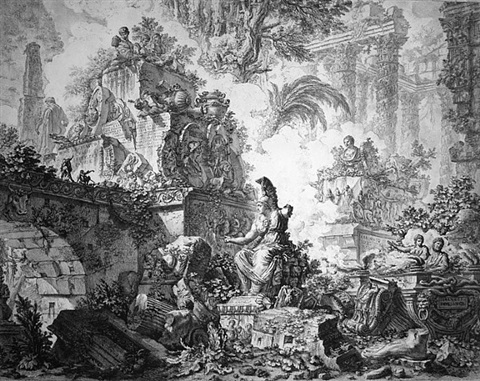 views of rome: frontispiece with statue of minerva, (3rd state) by giovanni battista piranesi